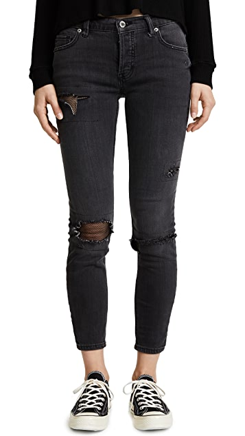 Free People Fishnet Skinny Jeans