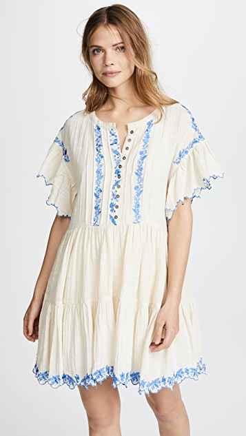 Free People Santiago Embroidered Mini Dress