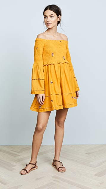 Free People Counting Daisies Embroidered Mini Dress
