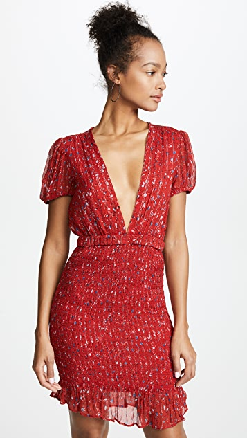 Free People Baby Love Smocked Bodycon Dress - Red Combo