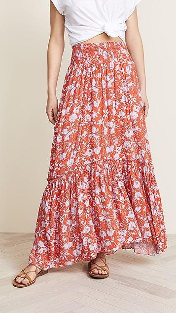Free People Way of the Wind Printed Midi Skirt