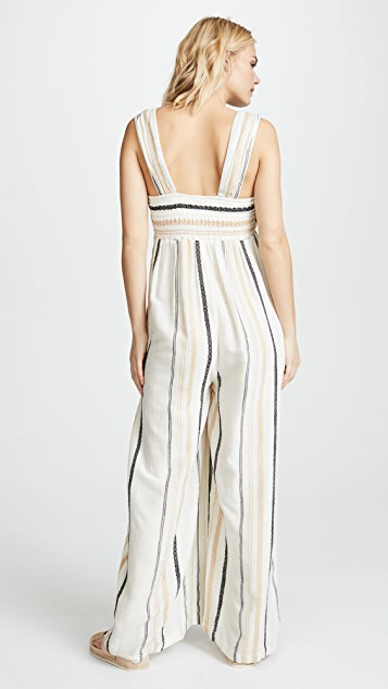 Free People Breezin Through Striped Jumpsuit