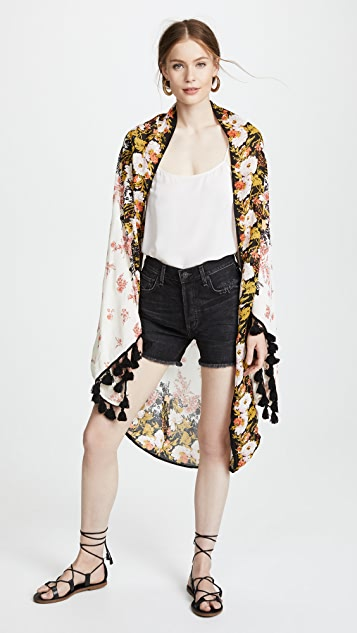 Free People Bali Wrapped in Blooms Shawl Robe