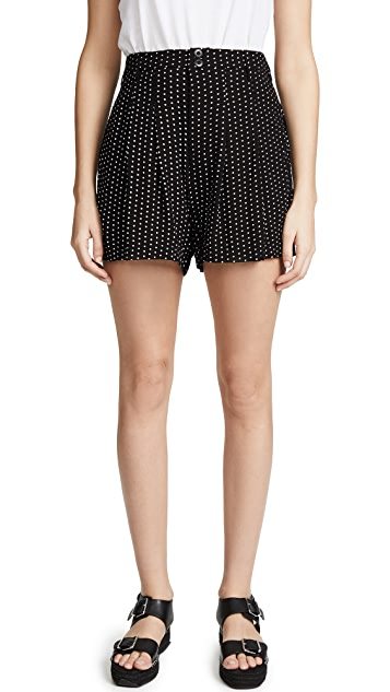 Free People Magdalene Pleated Printed Shorts