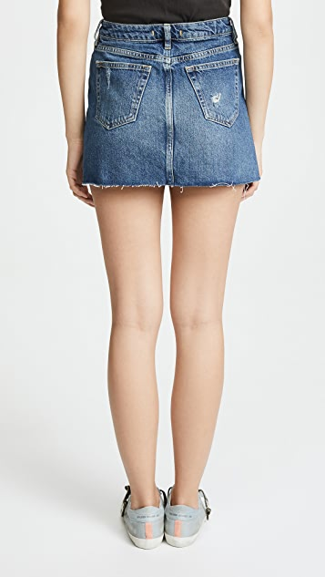 Free People Denim A-Line Miniskirt