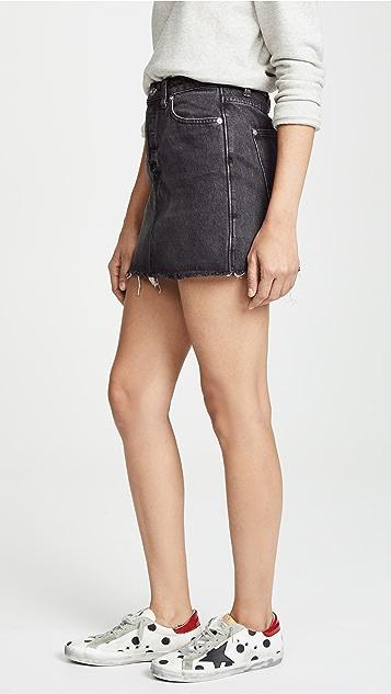 Free People Rugged A-Line Denim Skirt