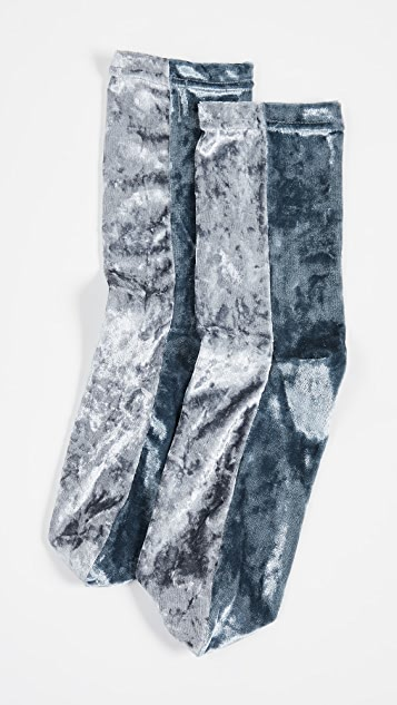 Free People Colorblock Velour Socks