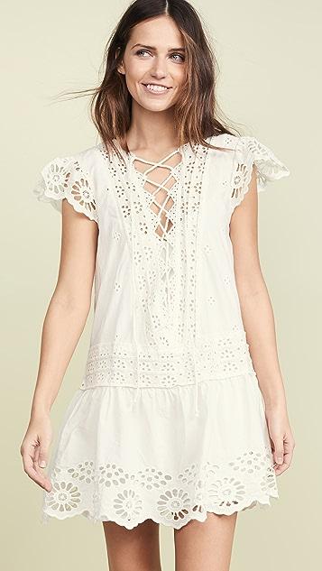 Free People Мини-платье Esperanza из кружевного шитья