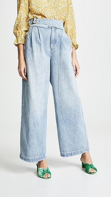 Free People Широкие джинсы с пряжками по бокам
