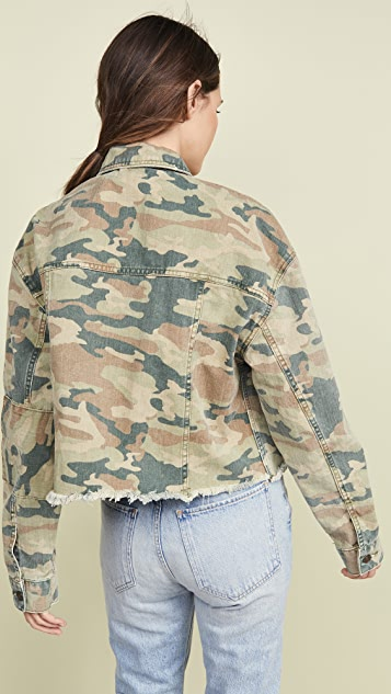 Free People Camo Print Denim Jacket