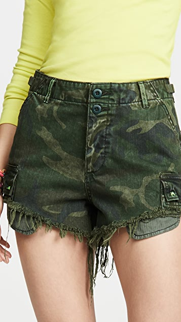 Free People Commander Cutoff Camo Shorts