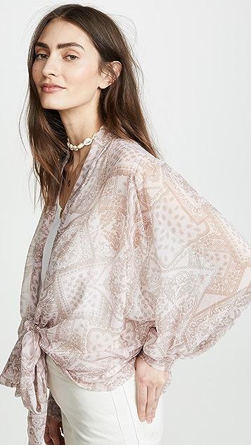 Free People Golden Hour Tie Front Kimono