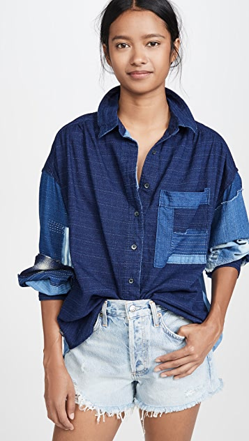 Free People 靛蓝系扣衬衣