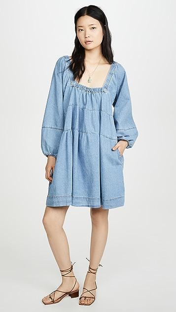 Free People Blue Jean Babydoll Dress