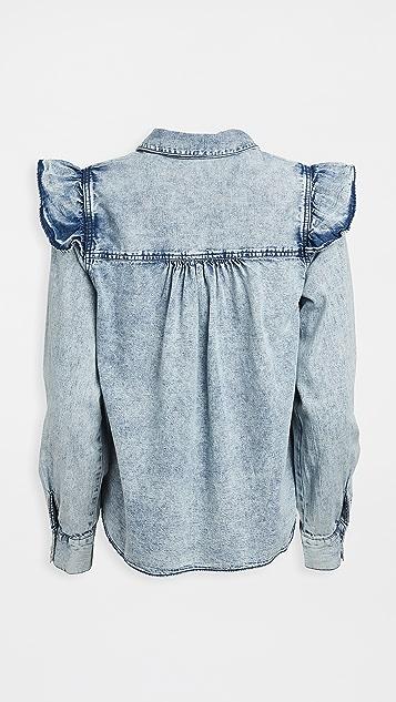 Free People Samantha Ruffle Button Down Shirt