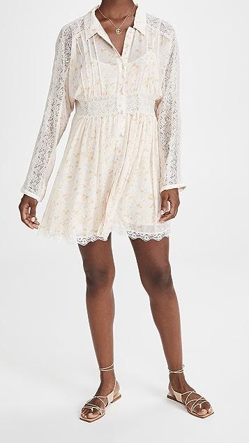 Free People Sheer Romance Mini Dress
