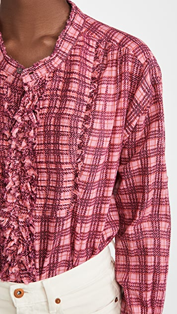 Free People Plaid Miles Tuxedo Shirt