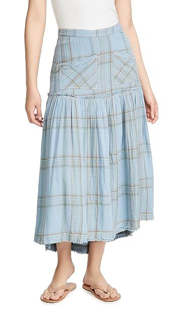 Free People Plaid Forever Midi Skirt