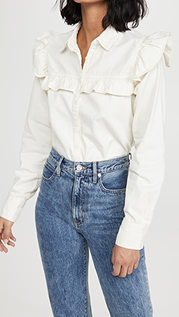 Free People Samantha Ruffle Button Down Shirt