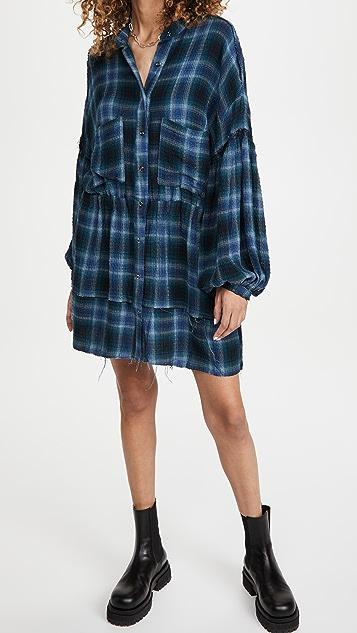 Free People By The Way Plaid Mini Dress