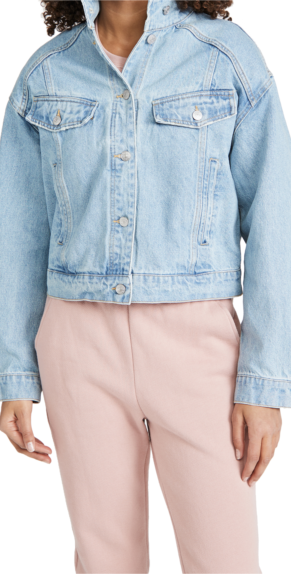 Free People Comet Denim Bomber Jacket