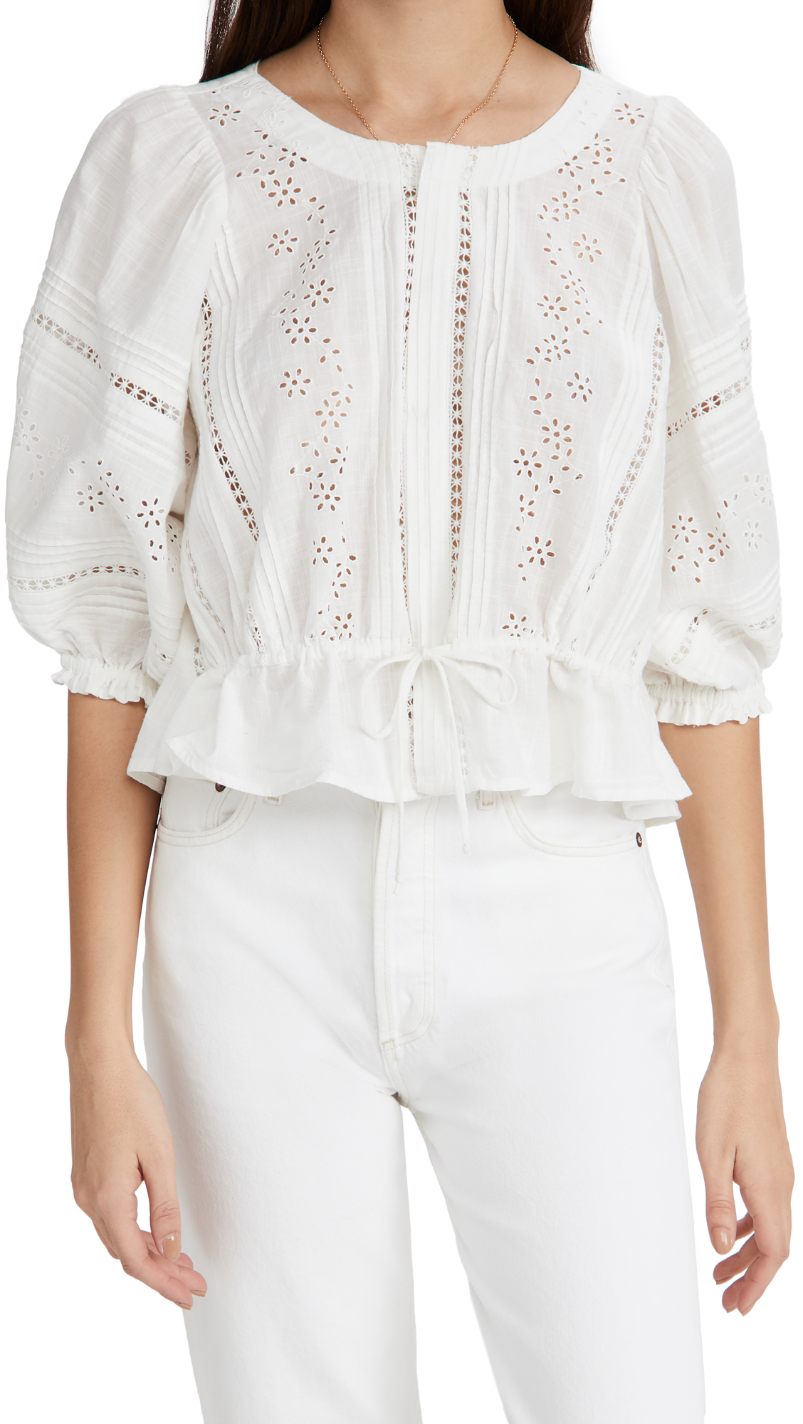 Free People Cottons DAISY CHAINS EYELET TOP