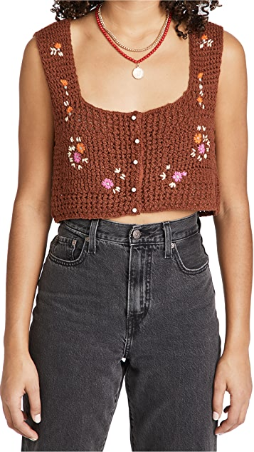 Free People Wildflowers Cardi Top