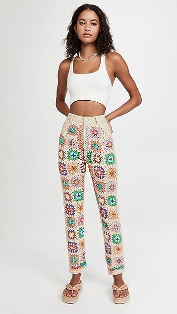 Free People Crochet Zuri Mom Jeans