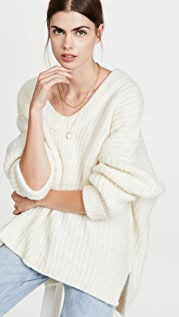 Free People Blue Bell V Neck Sweater