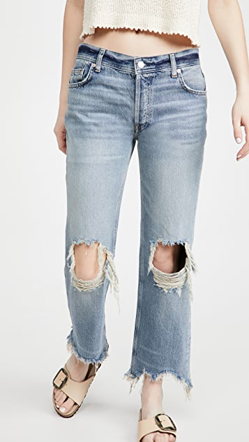 Free People Maggie Mid Rise Straight Jeans