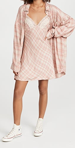 Free People - Gracie Plaid Slip and Button Down Set