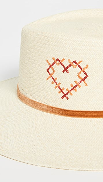 Freya Hand Embroidered Heart Hat