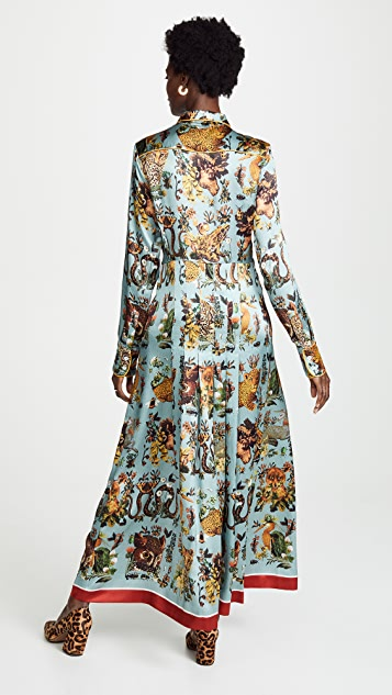 F.R.S For Restless Sleepers Printed Satin Shirt Dress