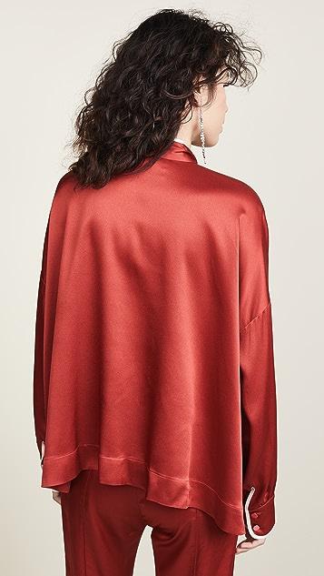 F.R.S For Restless Sleepers 缎面绑带领口女式衬衫