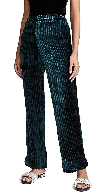 F.R.S For Restless Sleepers Velvet Stripe Wide Leg Pants