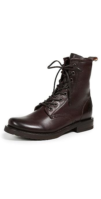 Frye Veronica Combat Boots - Dark Brown