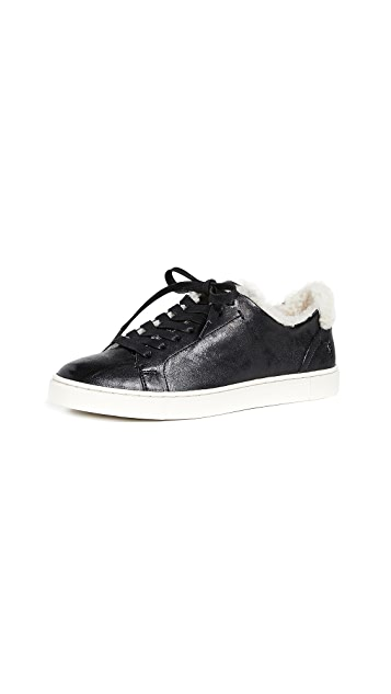 Frye Ivy Shearling Low Lace Sneakers
