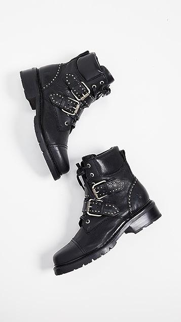 ed4814bf6d0 Samantha Stud Belted Hiker Boots