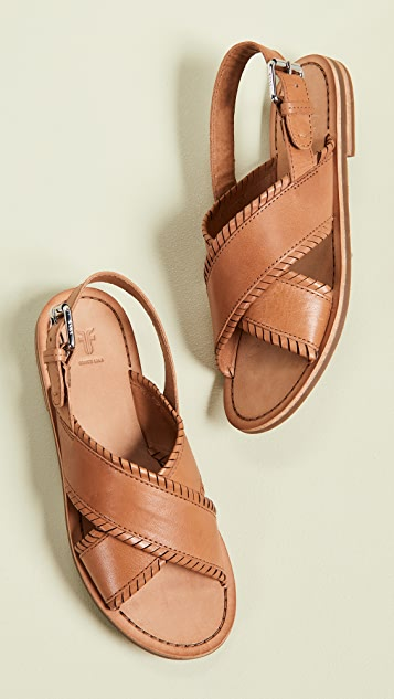 Frye Robin Feather Crisscross Sandals