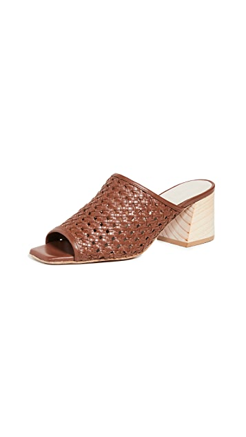 Freda Salvador Pia Woven Block Heel Sandals
