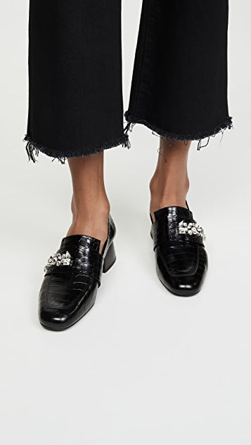 Freda Salvador 花朵珠宝高跟乐福鞋