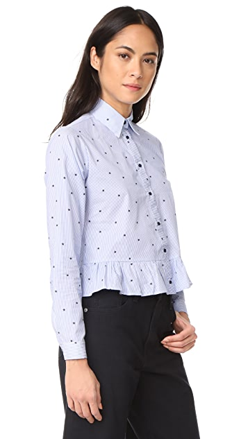 Fred and Sibel Printed Peplum Shirt