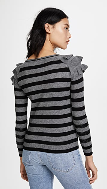 Fred and Sibel Striped Ruffle Shoulder Pullover