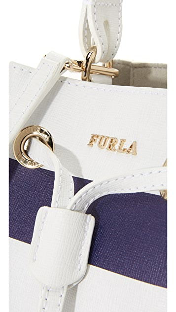 Furla Stripe Stacy Mini Bucket Bag