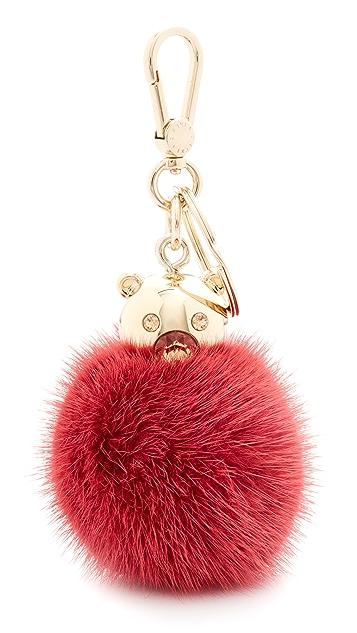 Furla Брелок для ключей Bubble с меховым помпоном
