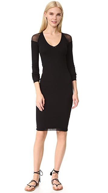 Fuzzi Long Sleeve V Neck Dress