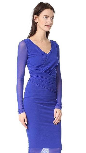 Fuzzi Long Sleeve V Neck Dress