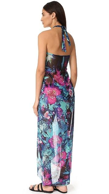 Fuzzi Floral Print Halter Long Dress