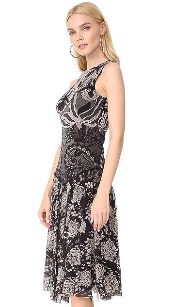 Fuzzi Stampa Layered Lace Sleeveless Dress