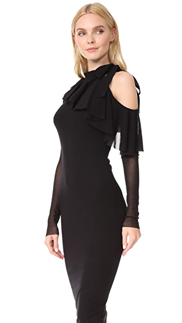 Fuzzi Cold Shoulder Fitted Dress